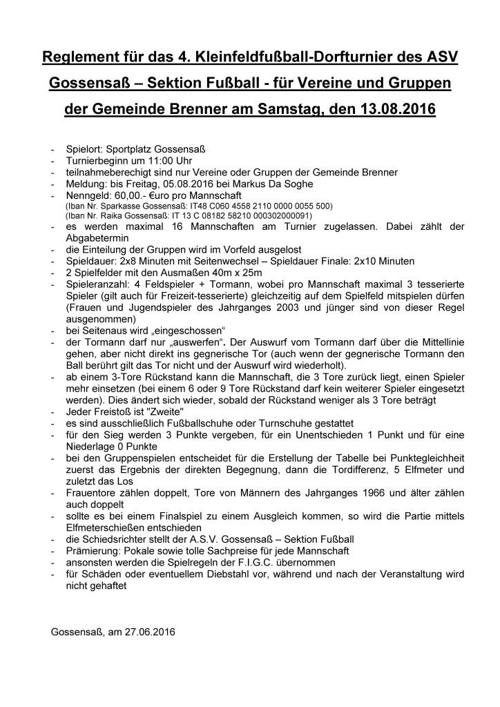 Reglement Dorfturnier DE 13.08.2016